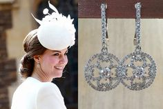 Kate Middleton Cubic Zirconia Sterling Silver Circle Earrings- e668