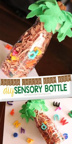 DIY Chicka Chicka Boom Boom Sensory Bottle - Homeschool in Jammies Chicka Chicka Boom Boom fans will love this Chicka Chicka Sensory Bottle! Step-by-step visual instructions make this craft super simple and kid-friendly! Sensory Bottles Preschool, Glitter Sensory Bottles, Sensory Bins, Sensory Activities, Sensory Play, Infant Activities, Preschool Activities, Book Activities, Prek Literacy