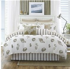 Beach bedding in neutrals from Harbor House