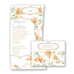 Romantic Wildflowers - Tangerine - Seal and Send Invitation