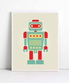 Baby Art Print, A4, Robot Print, Room Decor, Nursery Decor, Nursery Wall Art, Children's Wall Art, Playroom Decor, Retro Robot, Kids Poster. $12.99, via Etsy.