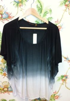 Butterfly sleeves black ombre Phoenix top
