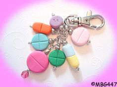 Pill Purse Charm  Handmade Polymer Clay Pill Beads by mybeadgarden, $12.00