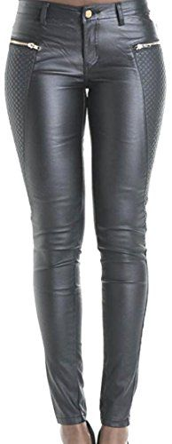 1827b906c9da3d Unko Womens Slim Fit Embroidered Faux Leather Zipper Feet Pants US XS Black  at Amazon Women's Clothing store: