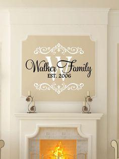 Custom Last Name & Monogram Vinyl Decal Set - Family Vinyl Wall Art Decal, Last Name Vinyl, Personalized, Home Decor, Monogram Art, 23x17.65 by TheVinylCompany on Etsy