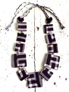 Kasuri Indigo Textile Necklace by lesliejanson on Etsy
