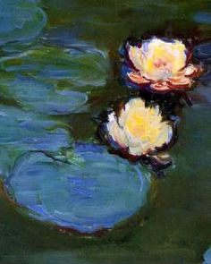 """Water lilies detail. The best collections of Monet's waterlilies are in Paris at the Jeu de Pomme museum, at the Monet museum, and at the Orangerie Museum, where enormous murals of the water lilies cover the walls of two large rooms, setting the viewer down """"in the middle of"""" the garden. Visiting the Orangerie rooms, In particular, feels like a religious experience. People entering those rooms fall silent in awe of the stunning beauty on all sides. (~Jim Weiss)"""