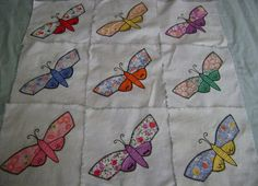 54 c1930 Vintage Applique Butterfly Quilt Blocks Lovely Hand DONE | eBay