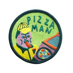 Iron-On Pizza Delivery Man Badge By Jess Warby
