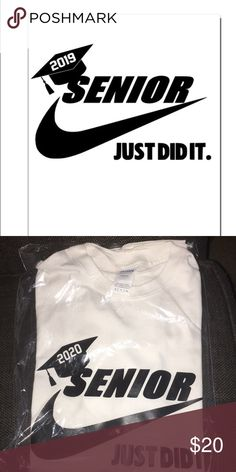 nike tops Custom Senior Shirts Just Did It Shirt Variety Of Colors Of T-Shirts And Letters All Sizes Your Class ! Your School Colors! Senior Class Shirts, Graduation Shirts, School Shirt Designs, School Shirts, Nike Pullover, School Colors, Just Do It, Nike Tops, Black Nikes