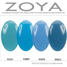 Zoya Nail Polish in Rocky Compared with Yummy, Robyn and Breezi. [I think this is mislabeled — I think it should be, from left: Rocky, Robyn, Yummy, Breezi (not Rocky, Yummy, Roby, Breezi). I think Yummy and Robyn are flip-flopped.]