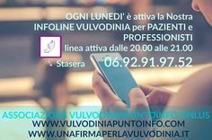 la linea è attiva il lunedì dalle 20.00 alle 21.00 - 06.92.91.97.52 http://bit.ly/2d2okAB #vulvodinia