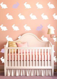 Bunny Decals Girls or Boys Nursery Rabbit Vinyl Decals Wallpaper Pattern. For big sister - over her big girl bed.
