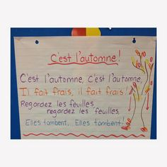 Fall song for French Immersion French Teacher, Teaching French, Line Up Songs, Spanish Teaching Resources, French Resources, Learning Spanish, Communication Orale, French Poems, Spanish Lessons For Kids