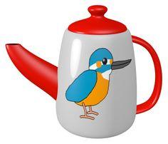 Common Kingfisher Teapot / #Tableware #Bird #Animal #カワセミ