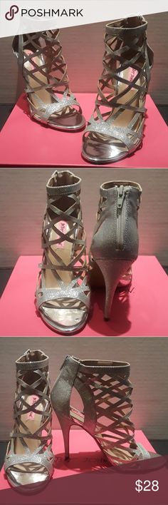 Betsey Johnson Silver Stilleto Open Toe Heels Product Features Back Zipper Closure Caged Glitter Heels  See photos for measurements No original box Great condition Never used Non-smoking home Betsey Johnson Shoes Heels