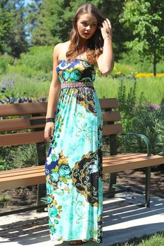 Farrah's Floral Mint & Navy Print Strapless Maxi Dress