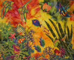 Under The African Waters.  Artist Statement.  Work is raw edge machine appliqued and heavily reinforced with silver thread painting all over the art work to give it a lot of shine, it is meticulously hand beaded.     Braid and Stitch is happy to announce that this  art work is the winner of the 'Sharon Guthrie 2010 Award for Innovative Art' at the '2010 Festival of Quilts Expo' in Portland Oregon in March.