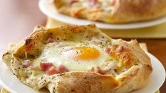 Breakfast Crostatas--mini french bread bowl filled with ham, egg, and cheese. Mmm!