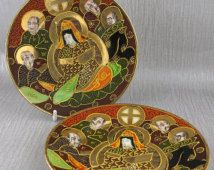 Pair of Japanese Plates Satsuma Style signed in Red on the Back Brown and Red…