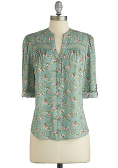 Treat the Parents Top in Floral - Green, Pink, Floral, Buttons, Work, Long Sleeve, Spring, Green, Tab Sleeve, Variation, Casual