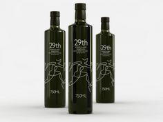 A marathon-commemorating illustration of a runner is placed on an olive oil bottle. Love the Picasso-inspired line-drawing.