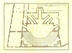 Teatro Olimpico de Vicenza Floor Plan 1760 at CarambasVintage, $120.00