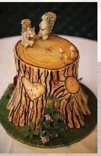 Cute tree stump cake with squirrels