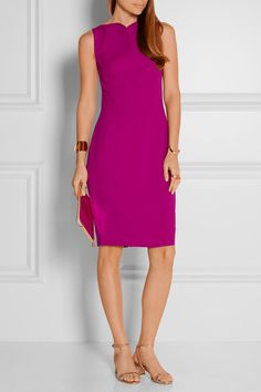 Magenta crepe Concealed hook and zip fastening at back 73% acetate, 27% viscose; lining: 100% polyester Dry clean Made in Italy