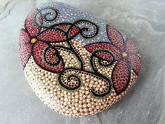 Dot Art Mushroom Painted stone painted rock by CreateAndCherish