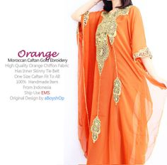 Moroccan Chiffon SOFT ORANGE Kaftan Full Gold by aboyshop on Etsy, $55.55