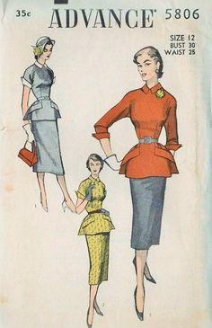 Womens Vintage Sewing Pattern Advance 5806