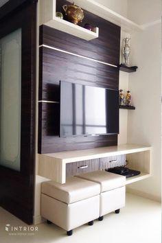 Bedroom Tv Unit Design, Lcd Unit Design, Tv Unit Bedroom, Lcd Wall Design, Tv Unit Furniture Design, Tv Unit Interior Design, Bedroom Tv Wall, Living Room Partition Design, Living Room Tv Unit Designs