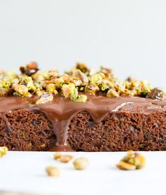 whole wheat chocolate fudge zucchini snack cake with candied pistachios