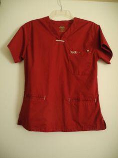 Iguana Med Burgandy medical/Nurses Scrub Top XS