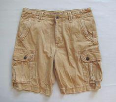 American Eagle Classic Length Cargo Shorts 36 Vintage Khaki dark tan Distressed #AmericanEagleOutfitters #Cargo