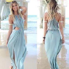 Vestidos ( Algodão ) MULHERES - Sexy/Praia/Casual – BRL R$ 53,30