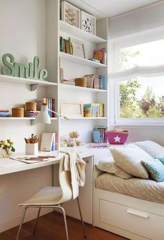 Top 25 Awesome Tiny Bedroom Design Ideas - Decor Home Tiny Bedroom Design, Small Room Design, Simple Bedroom Decor, Trendy Bedroom, Bedroom Desk, Bedroom Furniture, Bed Room, Luxury Furniture, Library Bedroom