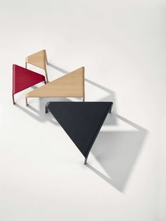 Design by Lievore Altherr Molina, 2013  Triangular in form and modular in nature, Ply is a system of low tables and stools rendered in fluid lines of wood. E...