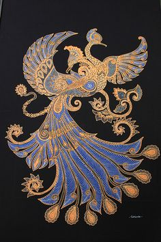 Phoenix ~ by Plentong Batik Factory, Jogjakarta / Yogyakarta, Java, Indonesia Dragon Tatoo, Dragons, Indonesian Art, Batik Art, Peacock Art, Phoenix, Inspiration Art, Bird Art, Asian Art