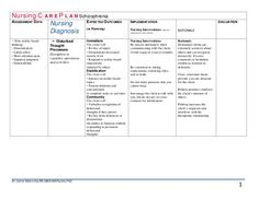 This printable nursing care plan includes assessment, diagnosis ...