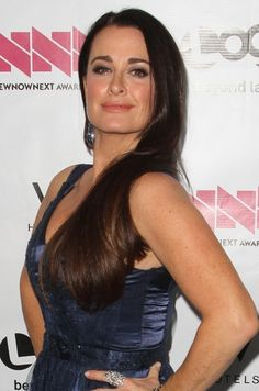 Kyle Richards sleek and straight hairstyle