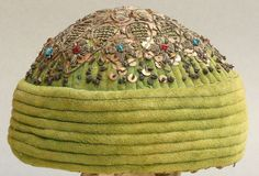 Islamic Velvet hat. Metal thread, sequins, and beads. Embroidery. c. 1900-1920. (nillryam/EBay)