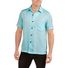 George Men's Rayon Print Hawaiian Shirt, Size: Small, Blue