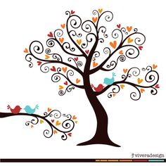 Love+Birds+on+a+Love+Tree++in+Fall+Autumn+colors++by+viveradesign,+$5.00