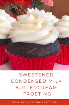 Sweetened Condensed Milk Buttercream Frosting Are you looking for a new buttercream frosting recipe? Try out this homemade Sweetened Condensed Milk Buttercream Frosting Recipe. It's not as sweet as vanilla buttercream icing and very delicious. Homemade Sweetened Condensed Milk, Condensed Milk Recipes, Recipe With Sweet Condensed Milk, Sugar Frosting, Vanilla Buttercream Frosting, Easy Icing Recipe, Cupcake Frosting Recipes, Vanilla Cake Icing Recipe, Homemade Cupcake Icing