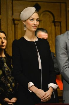 Beatrice Borromeo, November 19, 2015   Royal Hats: BB topped an elegant black and beige suit with a beige felt moulded beret worn on the side of her head. The hat has an air of austerity about it that was balanced well with Beatrice's drop earrings.