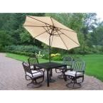 Oakland Living Rochester 5-Piece Swivel Patio Dining Set with Cushions and Beige Umbrella