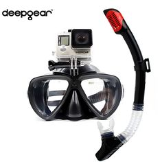 ==> [Free Shipping] Buy Best DEEPGEAR Detachable camera mount mask dry snorkel gears Twin lens low profile scuba diving mask black silicone underwater mask Online with LOWEST Price | 32783474573