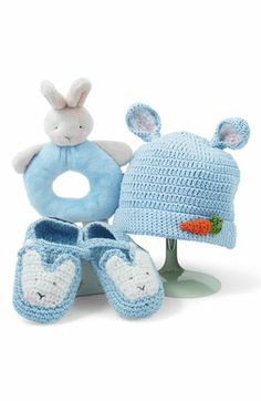Soooooo cute!!!  Bunnies by the Bay 'Wee Bunny' Rattle, Bootie & Hat Set (Infant) available at Nordstrom